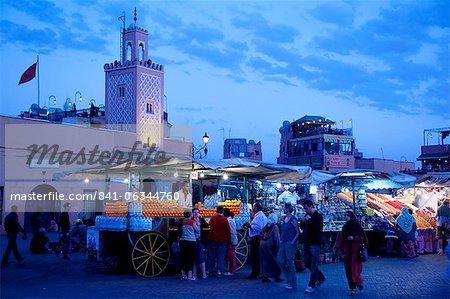Market stalls at dusk, Place Jemaa El Fna, Marrakesh, Morocco, North Africa, Africa