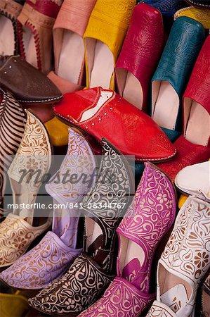 Chaussons colorés, Marrakech, Maroc, Afrique du Nord, Afrique