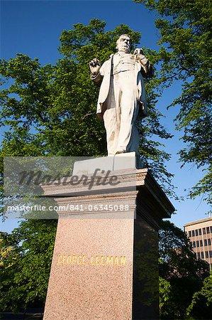 Statue de George Leeman, York, North Yorkshire, Yorkshire, Angleterre, Royaume-Uni, Europe