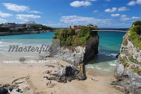 Towan beach et The Island, Newquay, Cornwall, Angleterre