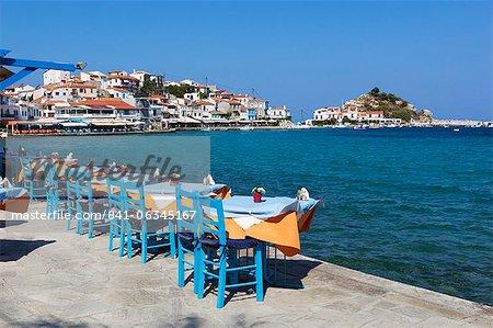 Restaurants on harbour, Kokkari, Samos, Aegean Islands, Greece