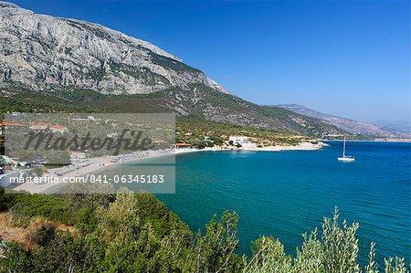 Limnionas beach and Mount Kerketeas, Samos, Aegean Islands, Greece, Europe