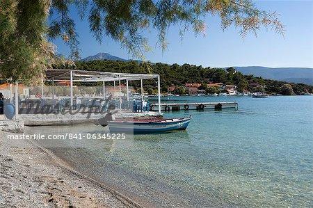 Taverna and beach, Posidonio, Samos, Aegean Islands, Greece