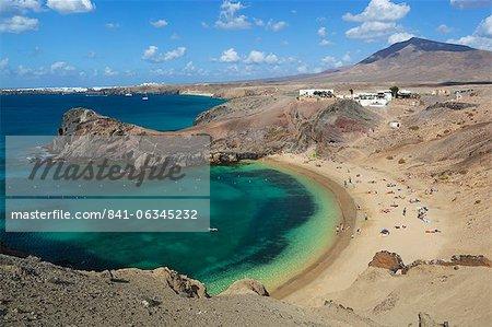 Playa del Papagayo, près de Playa Blanca, Lanzarote, îles Canaries, Espagne