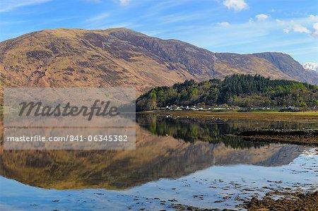 Loch Leven reflections, Glencoe village, Scottish Highlands, Scotland