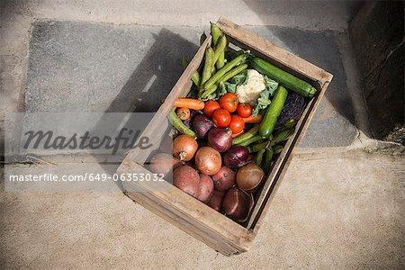 Caisse en bois de légumes