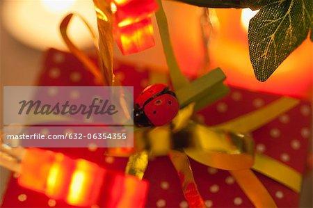 Cadeau de Noël décoré de coccinelle