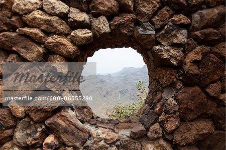 Pierre mur fenêtre, îles Canaries