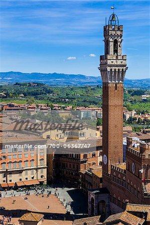 Aperçu de la vue sur le Palazzo Pubblico et Il Campo, Sienne, Toscane, Italie