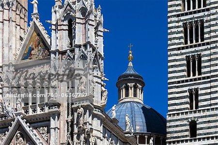 Gros plan de la cathédrale de Sienne, Siena, Toscane, Italie