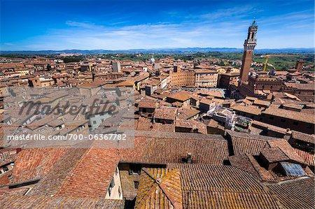Vue d'ensemble de la ville et Il Campo, Sienne, Toscane, Italie