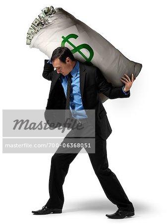 Businessman Carrying Large Sack of Money on Back