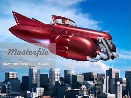 Femme survolant Jet voiture ville