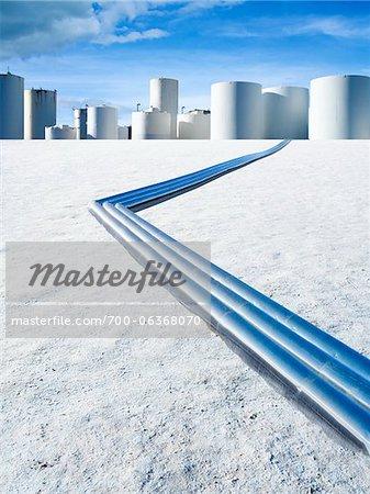 Pipeline on Salt Flat Leading to Storage Tanks