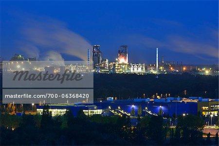 Steel Mill at Dawn, Duisburg, Ruhr Basin, North Rhine-Westphalia, Germany
