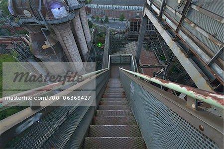 Staircase, Landschaftspark Duisburg-Nord, Meiderich Huette, Duisburg, Ruhr Basin, North Rhine-Westphalia, Germany