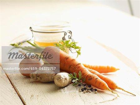 Ingrédients pour soupe aux carottes et gingembre