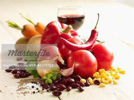 Ingrédients pour le Chili con carne