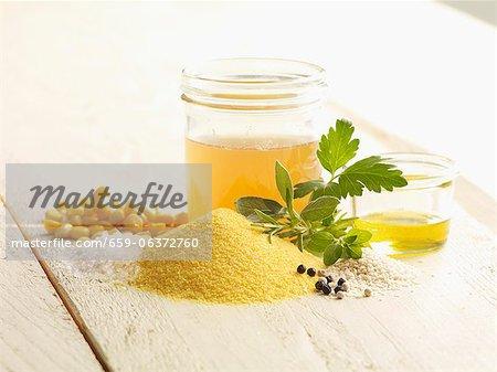 Ingrédients pour la polenta aux herbes