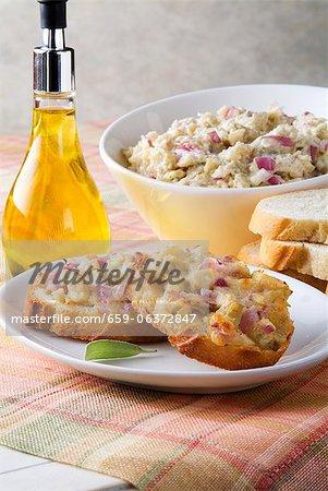 Brushetta; Bread Slices, Topping and Olive Oil