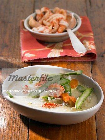 Cray fish, potato, carrot and asparagus stew