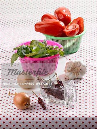 Zutaten für den Tomaten ragout