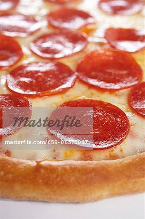 Pizza au pepperoni ; Gros plan
