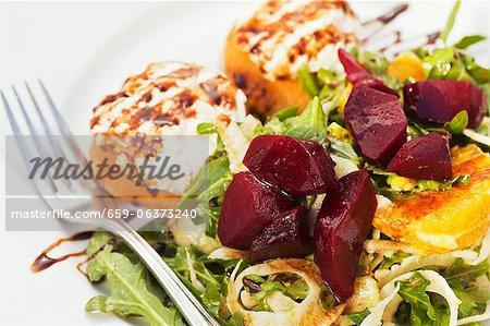 Burrata con Insalata Bietole Rosse; Italian Salad with Burrata Cheese and Beets