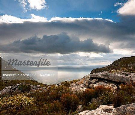 Blick auf False Bay, Muizenberg Peak, Silberbergwerk, Table-Mountain-Nationalpark, Kapstadt, Western Cape, Südafrika
