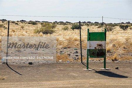 Empty roadside dustbin, Karas, Namibia