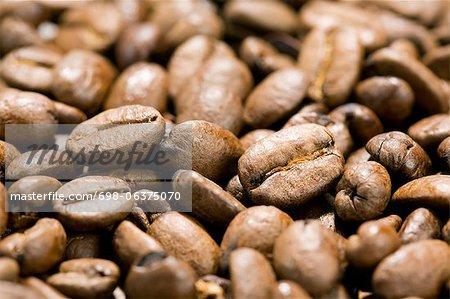 Tir plein cadre de grains de café