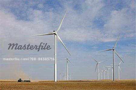 Éoliennes en champ, Colorado, USA