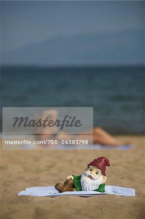 Garden Gnome Posing on Beach