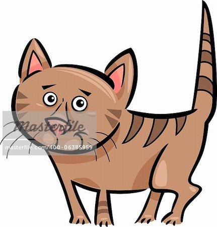 Bande dessinée Illustration joli marron Tabby chat ou chaton