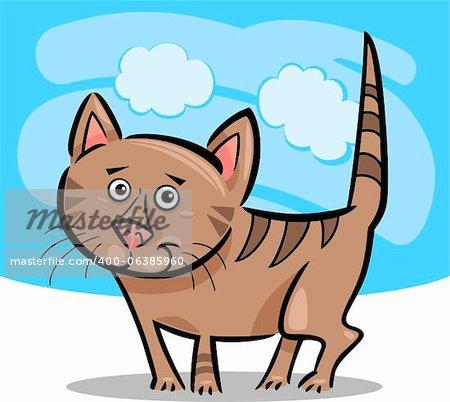 Bande dessinée Illustration joli marron Tabby chat ou chaton sur fond de ciel bleu