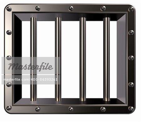 riveté prison métallique fenêtre 3d - illustration