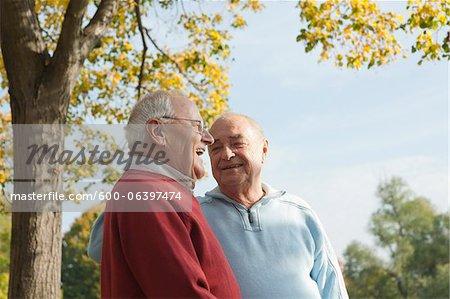 Senior Men Talking Outdoors in Autumn, Lampertheim, Hesse, Germany