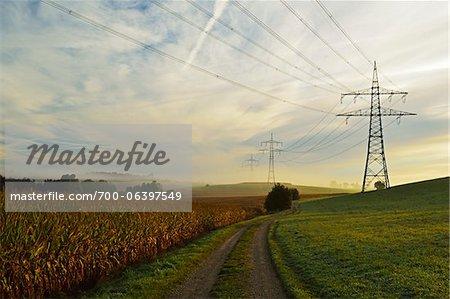 Country Road Running Between Farmland and Power Line, near Villingen-Schwenningen, Baden-Wurttemberg, Germany