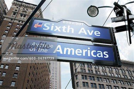 Intersection de la 6e Avenue et 39th Street, New York City, New York, États-Unis