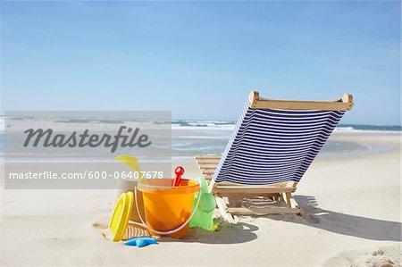 Beach Toys and Beach Chair, Cap Ferret, Gironde, Aquitaine, France