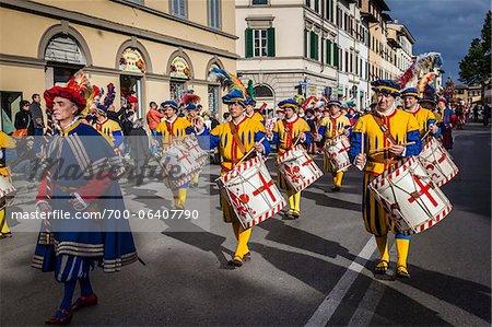 Marching Band, Scoppio del Carro, Explosion des Festivals Cart, Ostersonntag, Florenz, Provinz Florenz, Toskana, Italien