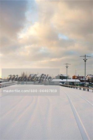 Snow Covered Parking Lot, Reykjavik, Greater Reykjavik, Iceland