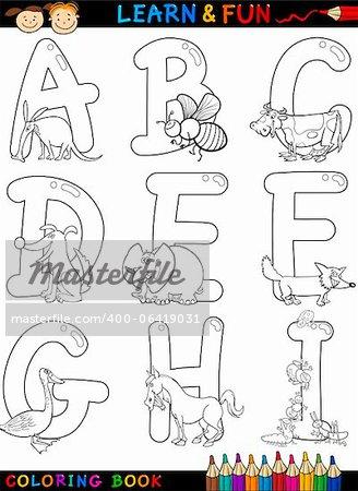 Dessins animés Alphabet à colorier ou ensemble de pages avec drôles d'animaux pour les enfants l'éducation et le plaisir