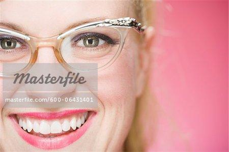 Portrait of Woman Wearing Vintage Eyeglasses