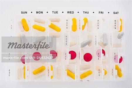 Certaines parties des pilules dans l'agenda