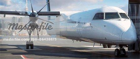 Bombardier Q400 Airplane on Tarmac, Billy Bishop Toronto City Airport, Toronto, Ontario, Canada