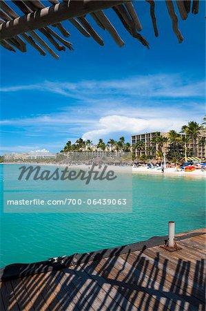 View of Resort Beach from Pelican Pier, Palm Beach, Aruba, Leeward Antilles, Lesser Antilles, Caribbean