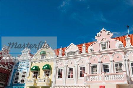 Pastel Coloured Dutch Colonial Buildings, Oranjestad, Aruba, Lesser Antilles, Dutch Antilles