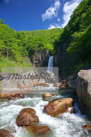 Feuilles de vert, roches et cascades de Naena, préfecture de Niigata