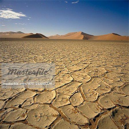 Cracked Earth in Desert Sossusvlei, Namib Desert Namibia
